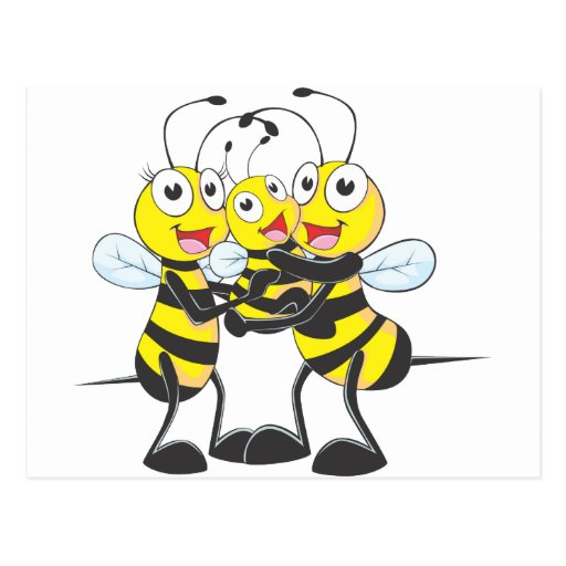 Familia feliz de la abeja tarjeta postal