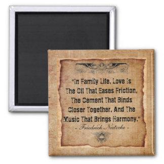 Familia feliz imán cuadrado