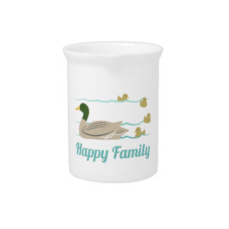 Familia feliz jarras para bebida