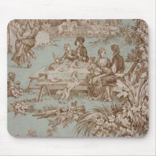 Familia francesa del país del vintage que recolect mouse pads