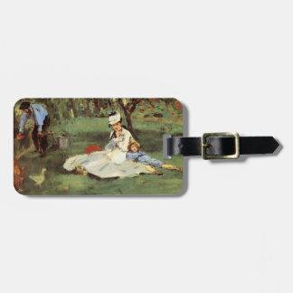 Familia francesa impresionista de Manet en jardín Etiquetas Para Equipaje