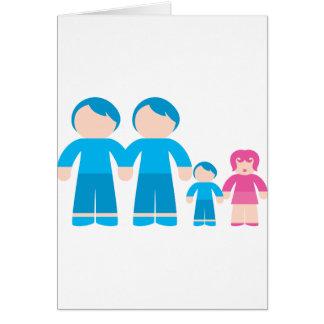 Familia gay masculina de dos pares de los papás tarjetón
