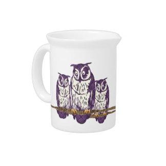 Familia geométrica estilizada púrpura del búho jarras