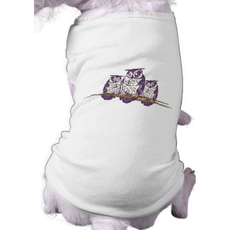 Familia geométrica estilizada púrpura del búho playera sin mangas para perro