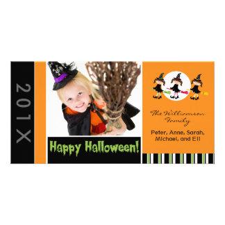 Familia Halloween Photocard de tres brujas Tarjeta Fotografica Personalizada