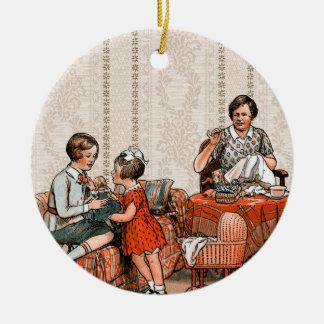 Familia holandesa adorno navideño redondo de cerámica
