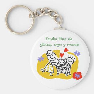 Familia Libre de Gluten, Soya y Caseina Llavero Redondo Tipo Pin