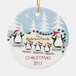 Familia linda de los pingüinos de ornamento de 5 n adornos