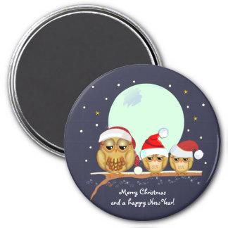 Familia linda del búho con los gorras de Santa y Imán Redondo 7 Cm