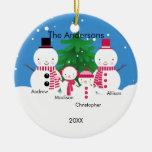 Familia linda del muñeco de nieve de ornamento de  ornamento para arbol de navidad