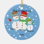 Familia linda del muñeco de nieve de ornamento de  ornamento de navidad