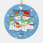 Familia linda del muñeco de nieve de ornamento de  ornamento para reyes magos