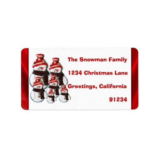 Familia linda del muñeco de nieve de seis etiqueta etiqueta de dirección