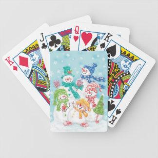 Familia linda del muñeco de nieve del día de fiest baraja de cartas