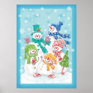 Familia linda del muñeco de nieve del navidad en l poster
