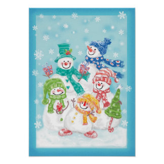 Familia linda del muñeco de nieve del navidad en poster