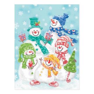 Familia linda del muñeco de nieve del navidad en tarjetas postales