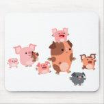 Familia linda Mousepad del cerdo del dibujo animad