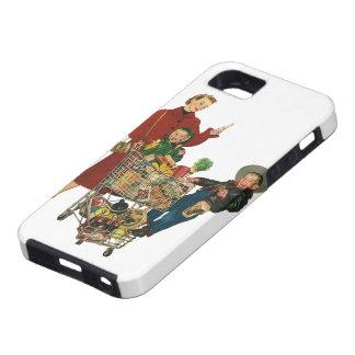 Familia, mamá y niños retros, compras del carro iPhone 5 carcasas
