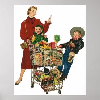 Familia, mamá y niños retros, compras del carro póster