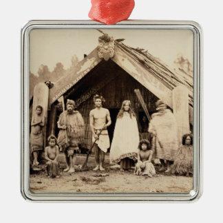 Familia maorí, Nueva Zelanda, c.1880s (impresión Adorno Navideño Cuadrado De Metal