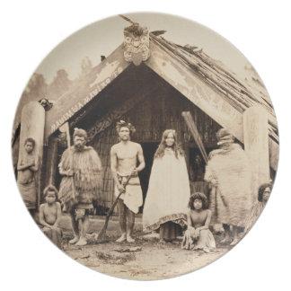Familia maorí, Nueva Zelanda, c.1880s (impresión d Platos De Comidas