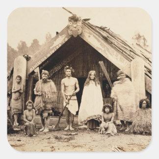 Familia maorí, Nueva Zelanda, c.1880s (impresión Calcomania Cuadradas