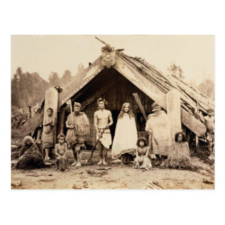 Familia maorí, Nueva Zelanda, c.1880s (impresión Postal