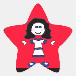 Familia media del palillo del chica pegatina en forma de estrella