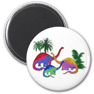 Familia Necked larga del dinosaurio Imán Redondo 5 Cm
