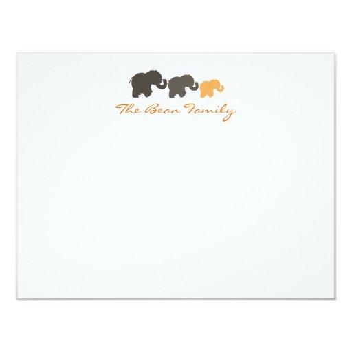 """Familia Notecards plano del elefante Invitación 4.25"""" X 5.5"""""""