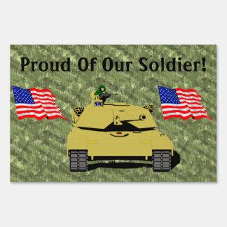 Familia orgullosa del soldado militar americano letreros
