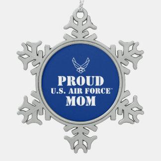 Familia orgullosa - logotipo y estrella en azul adorno de peltre en forma de copo de nieve