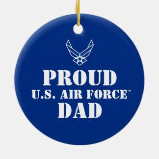 Familia orgullosa - logotipo y estrella en azul adorno navideño redondo de cerámica