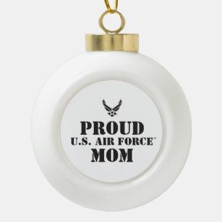 Familia orgullosa - logotipo y estrella negros adorno de cerámica en forma de bola