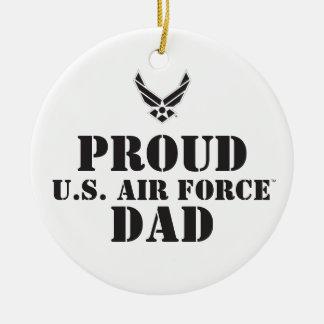 Familia orgullosa - logotipo y estrella negros adorno navideño redondo de cerámica