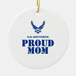 Familia orgullosa - pequeños logotipo y nombre de adorno navideño redondo de cerámica