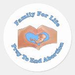 Familia para la vida pegatina redonda