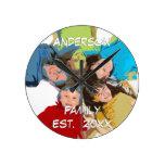 Familia personalizada del reloj de pared o la foto