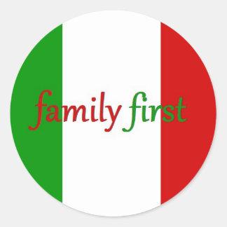 FAMILIA PRIMERO - Italia México familia Pegatina Redonda