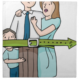 Familia que tensa la correa servilletas de papel
