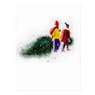 familia que tira de la parte 1 del árbol de navida postal