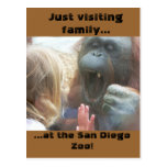 Familia que visita en la postal del parque zoológi