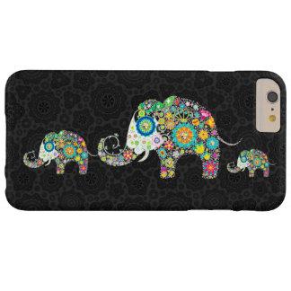Familia retra colorida del elefante de las flores funda para iPhone 6 plus barely there
