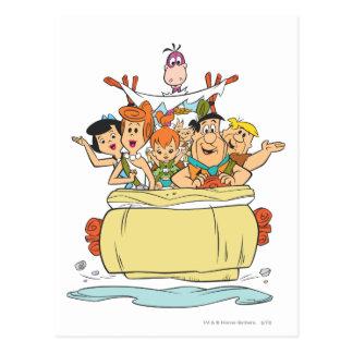 Familia Roadtrip de los Flintstones Tarjeta Postal