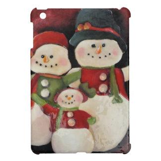 Familia roja del muñeco de nieve