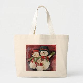 Familia roja del muñeco de nieve bolsa de tela grande