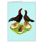 Familia roja negra del pollo de Aseel Tarjeton