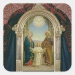 Familia santa, 1898 (tempera en el panel) calcomanía cuadradas personalizadas