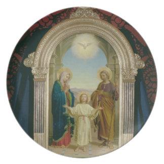 Familia santa, 1898 (tempera en el panel) plato para fiesta